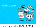 it s time to travel.trip to... | Shutterstock .eps vector #1058172254