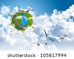 world travel globe concept with ... | Shutterstock . vector #105817994
