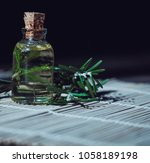 olive oil with green basil and...   Shutterstock . vector #1058189198