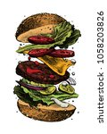 hamburger in sketch style.... | Shutterstock .eps vector #1058203826