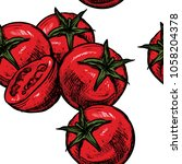 tomatoes seamless pattern... | Shutterstock .eps vector #1058204378