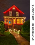 House Decorated And Lighted Fo...