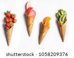fruit in waffle cones isolated... | Shutterstock . vector #1058209376