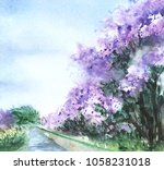 a lilac bush of lilacs grow on... | Shutterstock . vector #1058231018