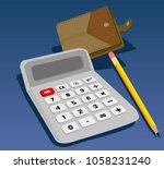 calculator wallet and pencil... | Shutterstock .eps vector #1058231240