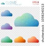cloud geometric polygonal icons ... | Shutterstock .eps vector #1058240213