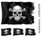 Raster version. Three types of pirate flag. Illustration for design on white background - stock photo