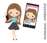vector illustration of cute... | Shutterstock .eps vector #1058243510