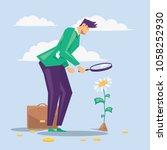 businessman looks on the money...   Shutterstock .eps vector #1058252930