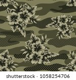 jungle seamless camouflage ... | Shutterstock .eps vector #1058254706