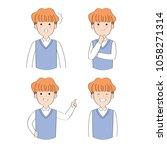 cartoon cute actions man... | Shutterstock .eps vector #1058271314