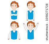 set cartoon cute actions man... | Shutterstock .eps vector #1058271728