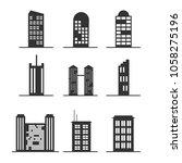set of modern office tall... | Shutterstock .eps vector #1058275196