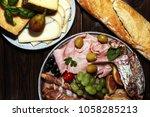 italian antipasti wine snacks... | Shutterstock . vector #1058285213