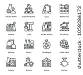 line icons set of industrial... | Shutterstock .eps vector #1058286173