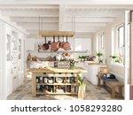 3d rendering. retro kitchen in... | Shutterstock . vector #1058293280