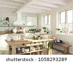 3d rendering. retro kitchen in... | Shutterstock . vector #1058293289