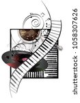 abstract musical design with... | Shutterstock .eps vector #1058307626
