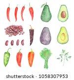 vegetable mexican set | Shutterstock . vector #1058307953