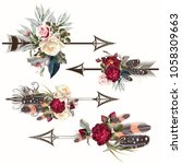 set of vector boho arrows with... | Shutterstock .eps vector #1058309663