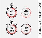 timer 43 seconds on gray... | Shutterstock .eps vector #1058310548