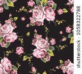 shabby chic vintage roses... | Shutterstock . vector #1058322788