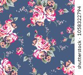 shabby chic vintage roses... | Shutterstock . vector #1058322794