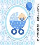 a little boy in a blue stroller.... | Shutterstock .eps vector #1058325998
