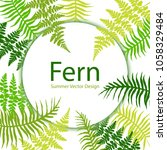 fern frond tropical leaves...   Shutterstock .eps vector #1058329484