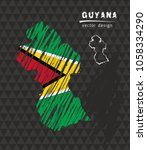 guyana national vector map with ... | Shutterstock .eps vector #1058334290