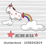 fantasy unicorn cute... | Shutterstock .eps vector #1058342819