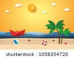 summer time   sea with origami... | Shutterstock .eps vector #1058354720