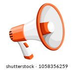 colorful white megaphone.... | Shutterstock .eps vector #1058356259