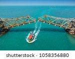 view of pamban bridge in... | Shutterstock . vector #1058356880