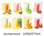 set of juices and smoothies....   Shutterstock .eps vector #1058357564