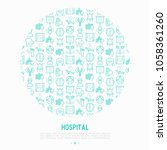 hospital concept in circle with ... | Shutterstock .eps vector #1058361260