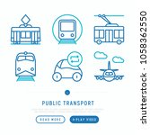 public transport thin line... | Shutterstock .eps vector #1058362550