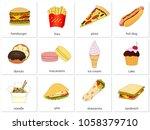hamburger  fries  pizza  hot...   Shutterstock .eps vector #1058379710