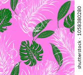 seamless pattern with green... | Shutterstock .eps vector #1058380280