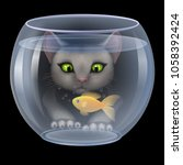 vector. cat hunting fish in the ... | Shutterstock .eps vector #1058392424