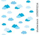 seamless pattern with clouds.... | Shutterstock .eps vector #1058393216