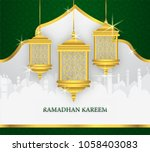 greeting card of holy ramadhan... | Shutterstock .eps vector #1058403083
