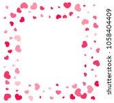 pink hearts random falling on... | Shutterstock .eps vector #1058404409