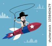 cowboy saddling a rocket   Shutterstock .eps vector #1058404679