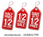 half price save  promotional... | Shutterstock .eps vector #105841799