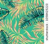 palm pattern. tree  jungle... | Shutterstock .eps vector #1058425223
