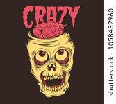 crazy skull illustration | Shutterstock .eps vector #1058432960
