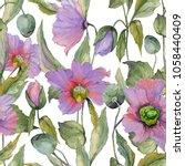 beautiful lilac poppy flowers... | Shutterstock . vector #1058440409