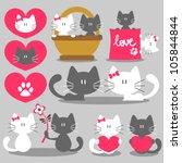two cats romantic valentine set | Shutterstock .eps vector #105844844