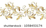 golden floral pattern.... | Shutterstock .eps vector #1058453174